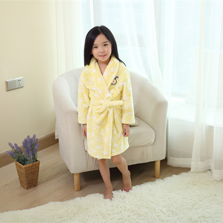 Wholesale Kid's Printing Flannel Spa Kimono Style Bath Robes For Children