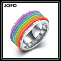 2016 Hot High Quality Polish Silver Gold Plated Rainbow Color Titanium Steel Ring LKNJ0081
