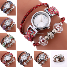 2017 new style wholesale cheap Floral Bohemia braided rhinestone fabric girl latest hand watch