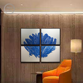 China Style Home Feather Metal Painting Decorative Paintings 3 Panel Wall Art