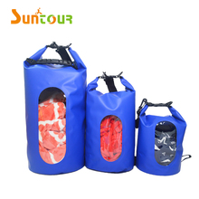 10L 500D PVC waterproof dry bag with window for swimming hiking