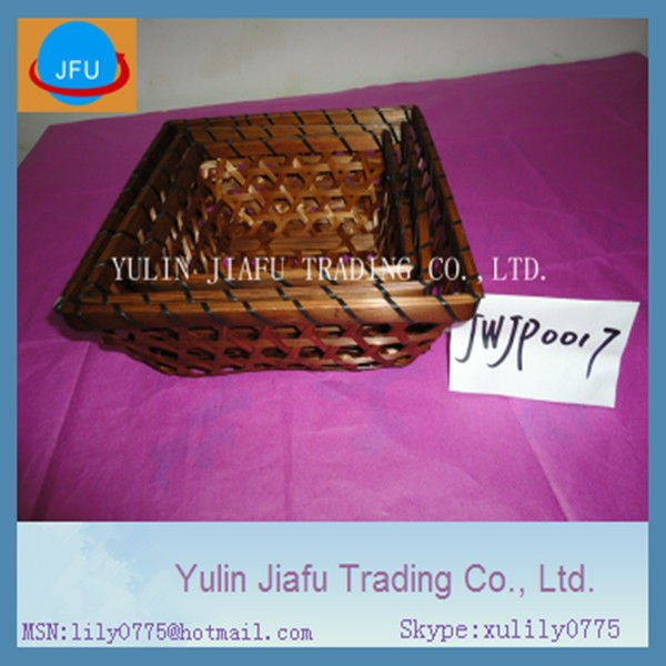 Bread basket weave basket cheap price square brown colour bamboo basket