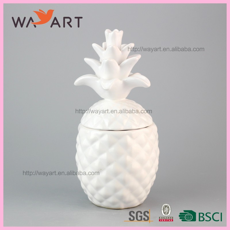 Promotional White Pineapple Ceramic Cookie Jar