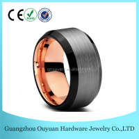 10MM Three Colors Tungsten Carbide Ring, Men Women Black & 18K Rose Gold Brushed Tungsten Carbide Ring