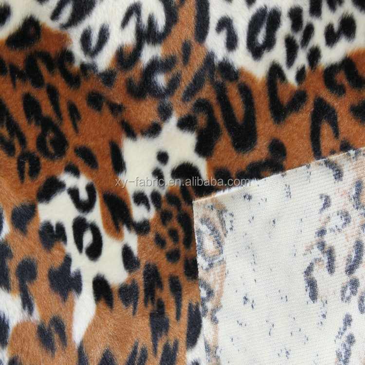 2016HOT-SALES 100%polyester printed animal faux fur fabric