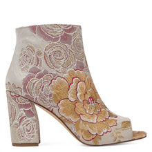 Super quality embroidery chunky heel ankle boots Open Toe Booties