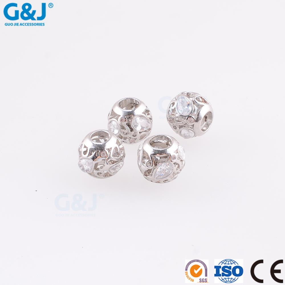 guojie brand Wholesale polishing 925 silver DIY beads pendant for bracelet