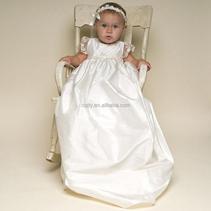 New born baby christening birthday dress, soft white cotton lining long baptism dress