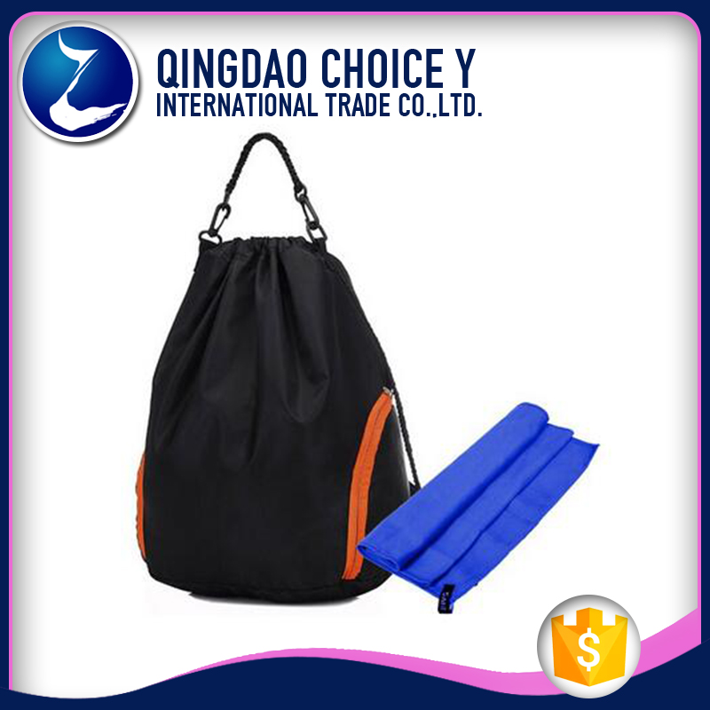 College Luggage and Travel Bags Style Gym Sports 210D Polyester Backpack Drawstring Bag
