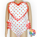 Red Hearts Print Valentines Day Rompers Toddler Infant Girls Romper Soft Baby Cotton Romper