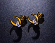 E1144 double horn stud earring silver accessories to make earrings