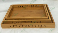 eco-friendly nature bamboo 3pcs tray organization