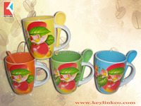 bright color 11OZ apple design belly shape decals printed ceramic coffee mugs/stoneware tea cup with spoon, KL8010-551