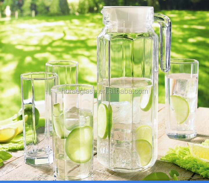 Glass drinking water set water jug and cups glass pitcher set with 4 cups
