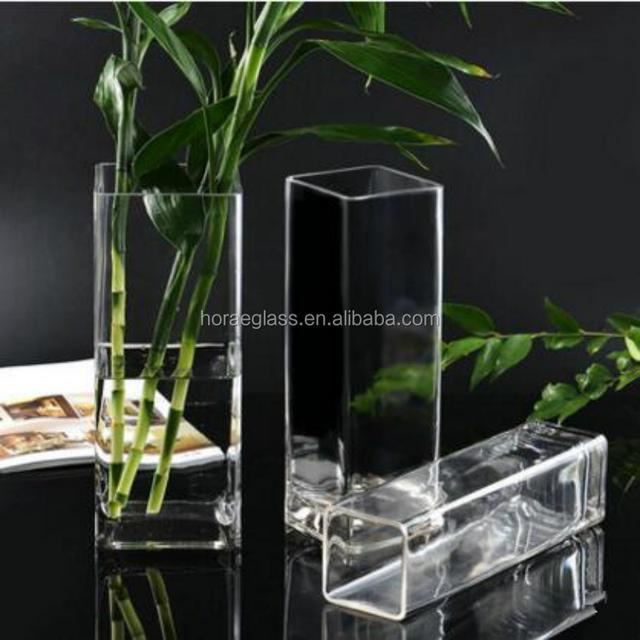 Transparent crystal glass vase square water culture plant flower vase for living decoration