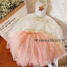 2017 Ins children summer tutu dress baby girl puffy star sequins tulle lace bust skirt for 2-6years