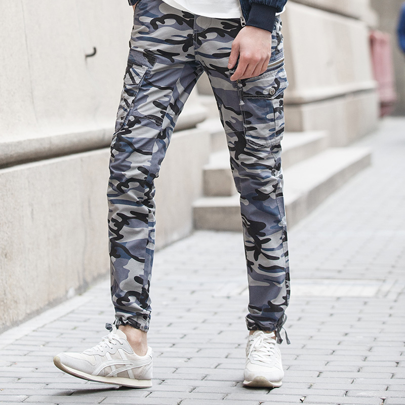 Hot sale cotton fabric mens skinny casual camo pants