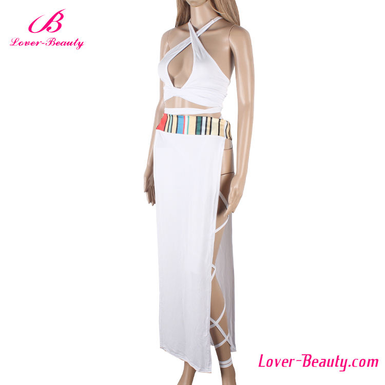 White sleeveless long open side new fashion ladies dress