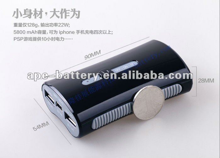 universal usb external battery packs for iPhone iPod iPad macbook pro/air mobile phone laptop tablet pc camera DVD VCD