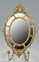 Unique Design Oval Bronze Wall Mirror,Exquisite Solid Brass Art Wall Mirror With Candlestick,Hand Made Bronze Decorated Wall Art
