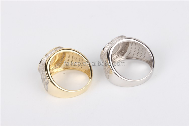 wholesale brass or silver mens ring hip hop jewerly iced out