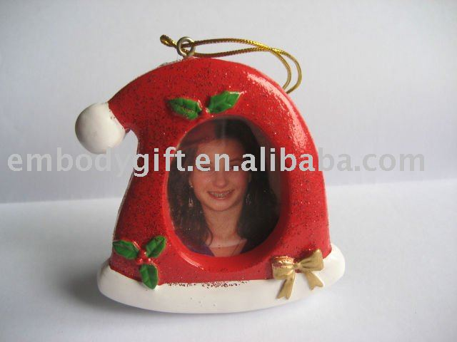 christmas theme funny and cute hat shaped hanging mini resin red photo frame for child/kid