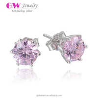 2016 New Design Pave Pink Cz Fashion Jewelry Women Daily Wear Stud Earrings