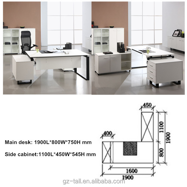 Modern office furniture table executive desk custom office desk with side table