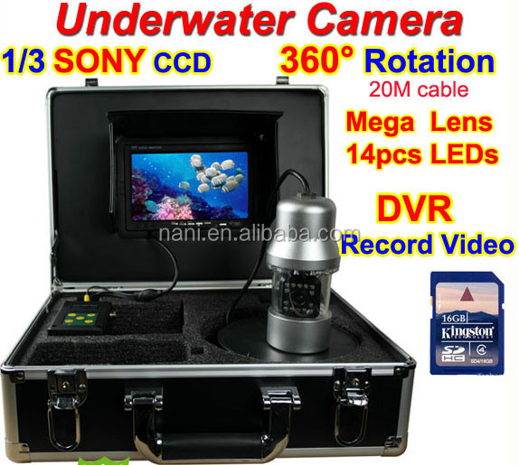 "Rotate 360 Degree 1/3 SONY CCD 700TVL Underwater Fishing Camera DVR Record Video Fish Finder 7"" TFT LCD 20M Cable 14pc White LED"