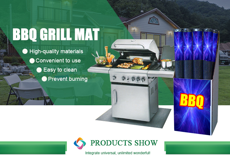 Outdoors rectangle heat resistant barbecue grill pation polyester floor mat carpet rolls manufacturer