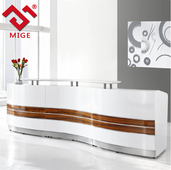 Luxury Modern MDF Highlight White Reception Counter