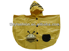 Outdoor Camping Cycling Hooded Waterproof Yellow Raincoats Poncho For Kids