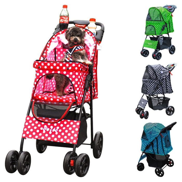Dog large pet Stroller with large storage basket carrier