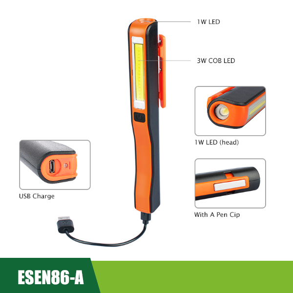 Rechargeable COB LED Penlight Flashlight Including A USB Cable