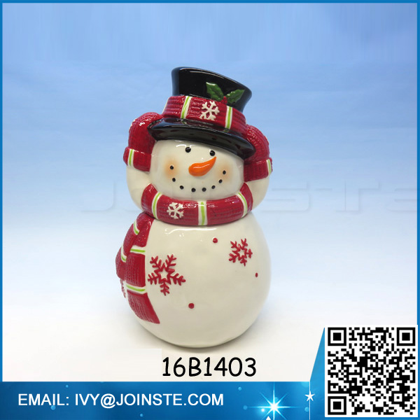 dolomite ceramic jar cookie &candy jar cute snowman shaped cookie jar for Christmas