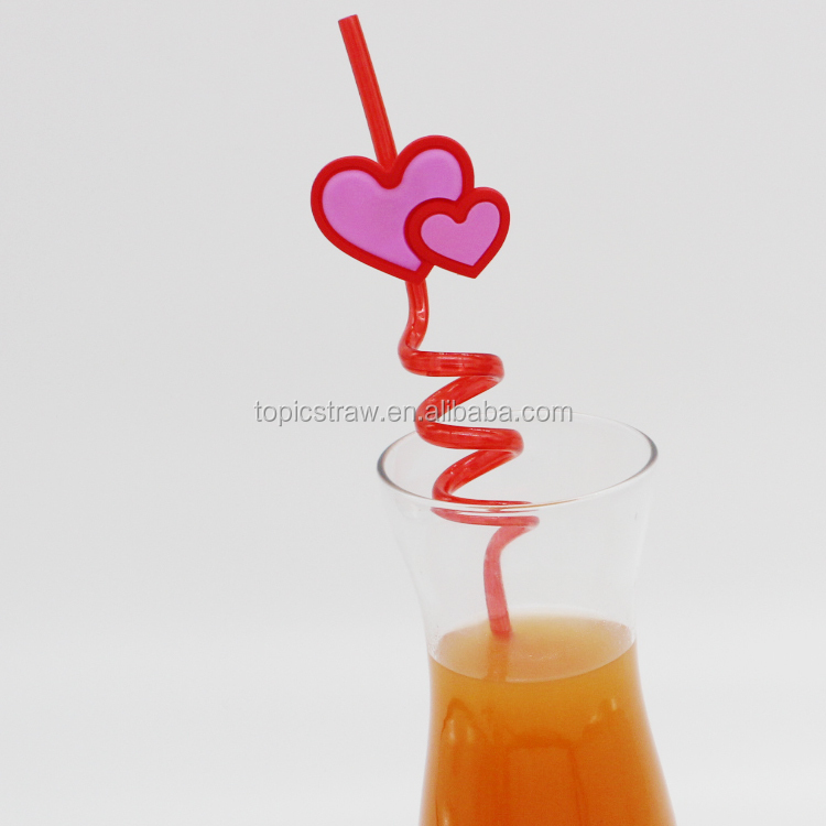 bar usages heart shaped plastic spiral drinking straws