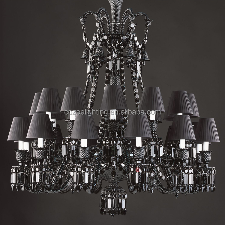 French Baccarat Fine Cut Crystal Chandelier Lighting Black Glass Chandeliers E14/E27 Pendant Hanging Light Fixture CZ3506/24B