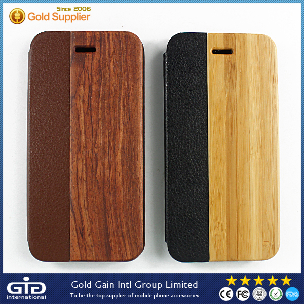 [GGIT]New Products PU Bamboo Case For iPhone 6 With Support