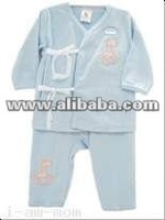 High Quality blue baby 100% cotton dress wrapover top with little pony and pant with crotch made of soft cotton