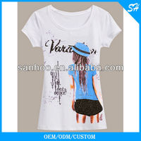Most Professional Design Women T Shirt With Cartoon Printing