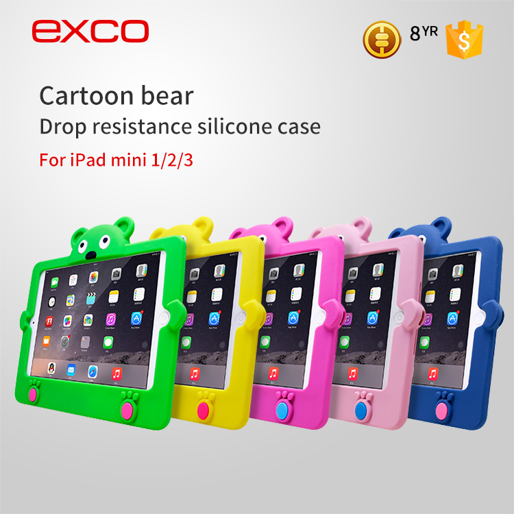 EXCO hot sale soft colorful silicone phone case for ipad mini 1 2 3