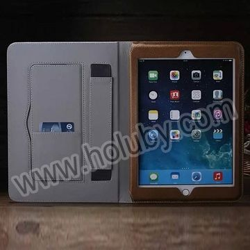 2015 Weak Up Sleep Card Slot Flip Stand Genuine Tablet Cover for iPad Air 2 Leather Case for iPad 6 with Handheld Belt