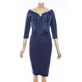 High Elasticity Color Blue Off-shoulder mid-sleeve Stain Dress
