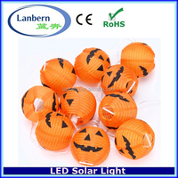 2016 new no extra wire 10LEDS outdoor String Chinese Lantern Inflatable Solar Halloween Pumpkin Decorations LED Light