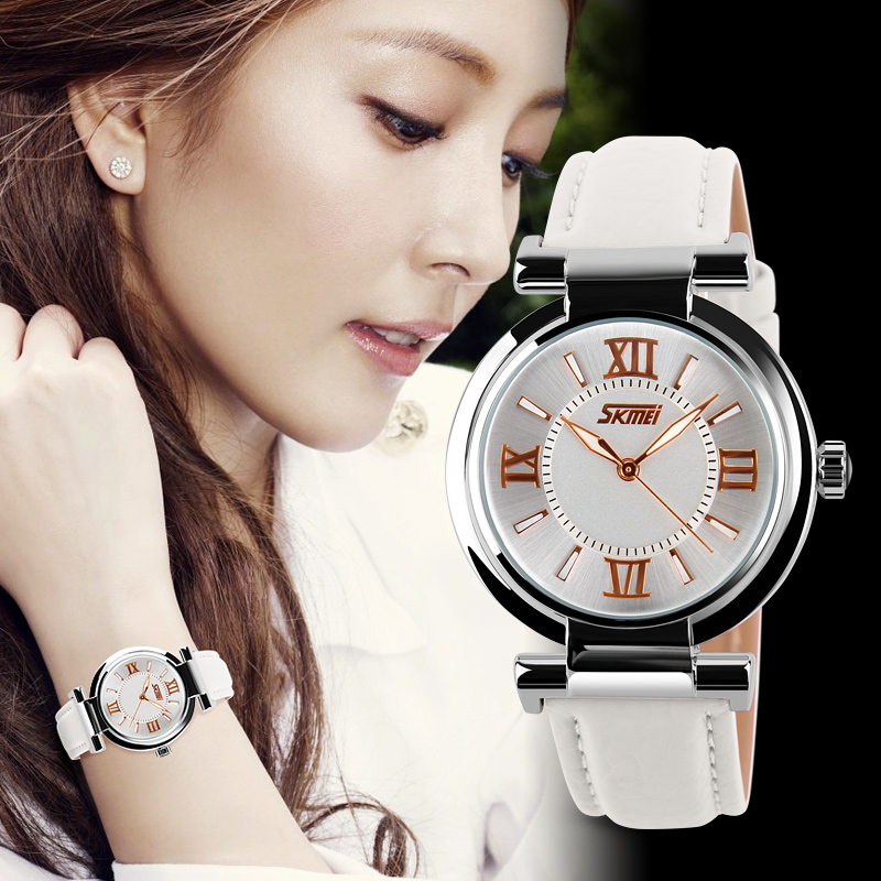 Leather band white watch women SKMEI watch