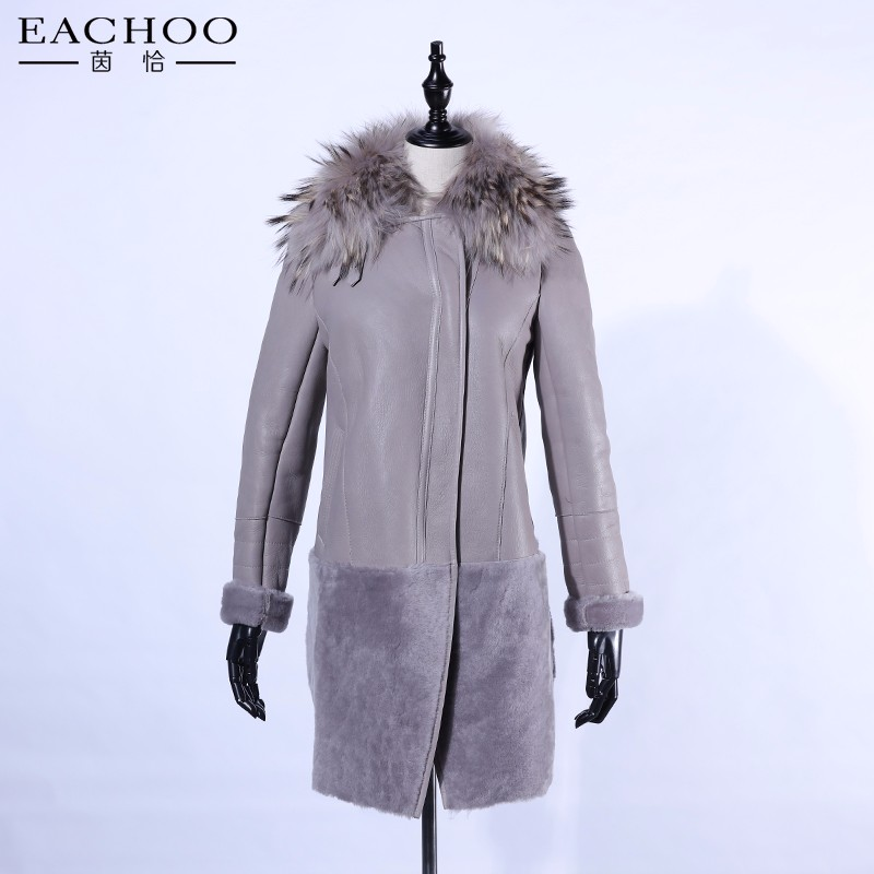 2017 Fashion real racoon fur collar leather fur long coat