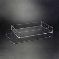 Clear Acrylic Lucite Rectangular Magnetic Serving Tray with Handles