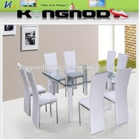 arezzo dining set DT-813 C-411 LUXURY 1+8 seater curve tempered glass metal dining table and chair set