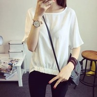 Women's short sleeve T-shirt Pure color thin white 5 minutes of sleeve blouse