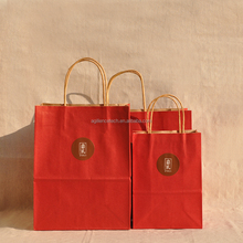 2015 Oriental Style Handmade Red Kraft Paper Bag for Packing Gift,Paper Shopping Totes for Honey&Tea Box Wholesale